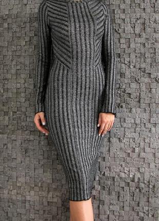 Шикарное платье футляр с люрексом h&m платье миди вечернее