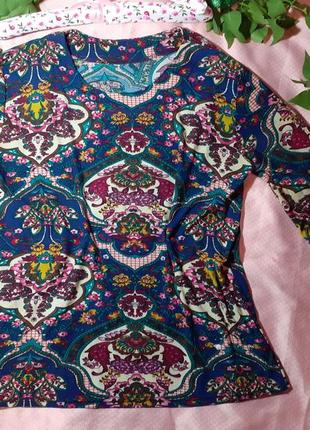 Блуза блузка яркая узор принт огурцы косынка матрешка длинный рукав трикотаж вискоза