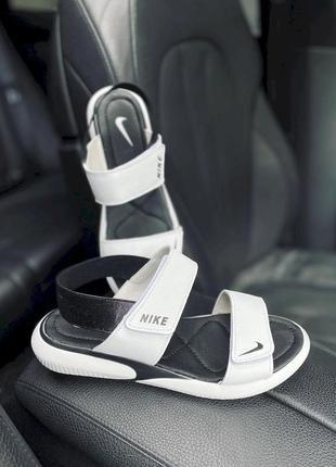 Женские кожаные босоножки сандалии, белые nike, супер-качество!