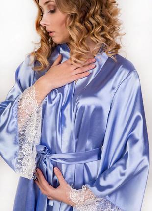 Шикарный васильковый атласный халат кимоно с широким рукавом, размеры xs/s, m/l, xl/xxl