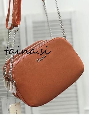 Оранжевый клатч коралловый david jones 6100-2/6200-2t оригинал кроссбоди сумка на цепочке