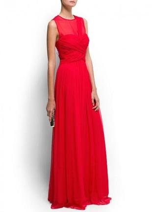 Mango  шелковое красное длинное платье в пол размер xs
