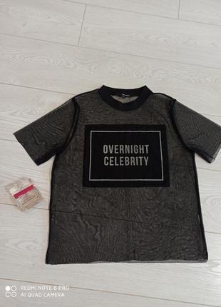 Стильная футболка сетка с надписью