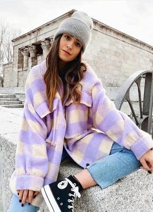 Рубашка плотная лиловая куртка оверсайз в стиле zara зара