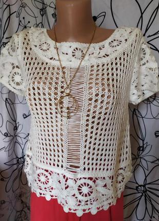 Маслянная укороченная вязанная блуза,сетка,вязка
