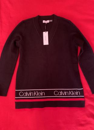Черная кофта з логотипом бренда calvin klein оригинал из сша