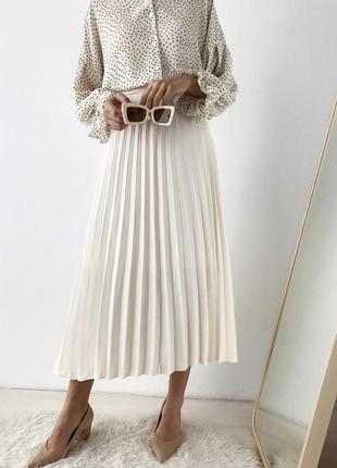 Плиссированная юбка, юбка миди плиссе белая в стиле zara, mango, h&m, hm, bershka, asos