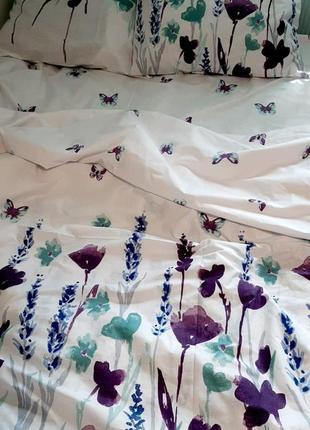 Евро комплект постельного белья акварельные цветы