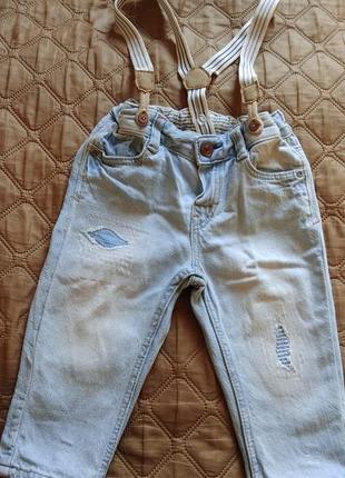 Летние джинсы на подтяжках