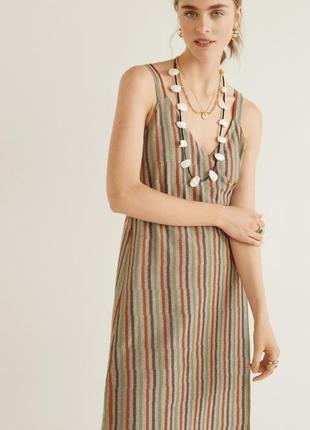 Платье сарафан в полоску манго