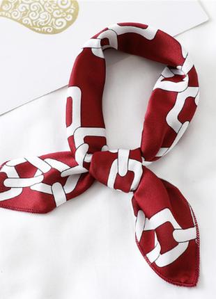 Платок платочек бант лента для волос на сумку топ-качество бордовый винный в цепи