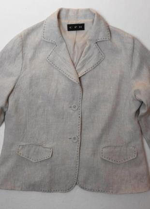 Льняной укороченный пиджак. 48-50 размер.