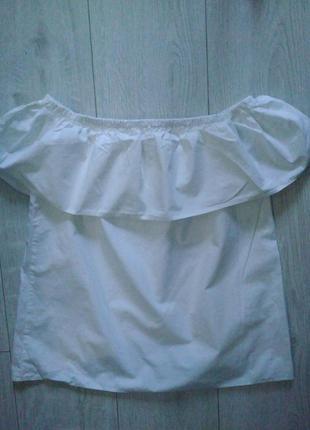 Блуза белая с рюшой 38р