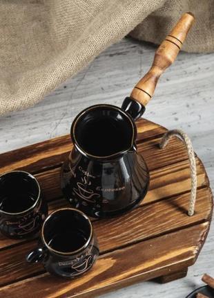 Кофейный набор турка с двумя чашками из керамики черный с золотом
