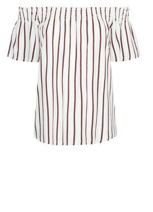 Топ блузка в полоску хлопок открытые плечи резинка