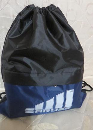 Спортивный рюкзак-мешок для спорта, фитнеса saruss с синей вставкой