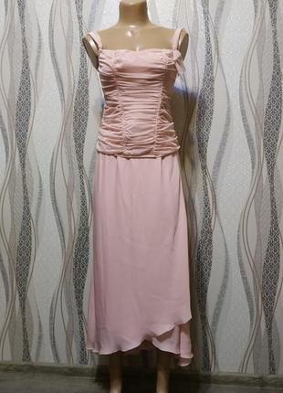 Нежно-пудровое платье миди свадебное, вечернее в стиле винтаж, бохо,