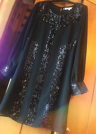 Невероятно красивое шифоновое платье с пайетками мини бренда principles petite