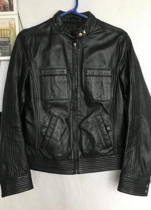 🌿 кожаная чёрная куртка
