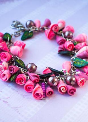 Браслет цветы розы цветочный нежный розовый цепочка под серебро красивый ручная hand