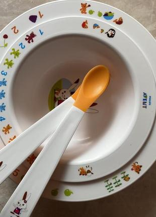 Набор посуды {тарелки и ложки} philips avent