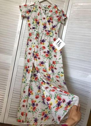 ❤️великолепное платье,сарафан в цветы с разрезом,открытые плечи( м/s см.заиеры)
