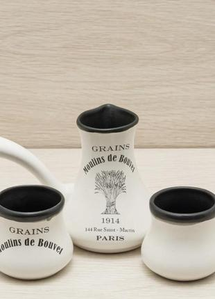 Кофейный набор из керамики в винтажном стиле турка с чашками