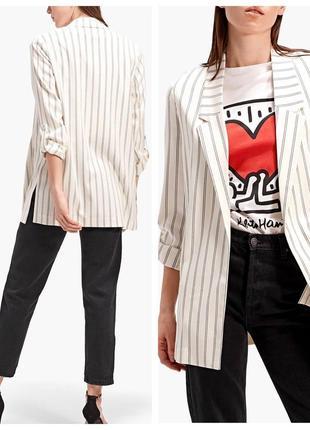 👍стильный пиджак,блейзер оверсайз с карманами и разрезами по бокам(см.замеры m/s)