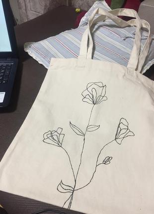 Эко-сумка шоппер хлопок роспись
