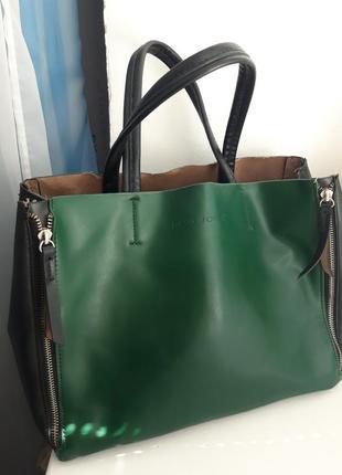 Зеленая сумка с короткими ручками  david jones