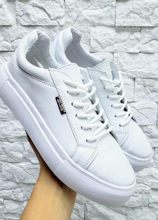 Белые кожаные кеды boomer
