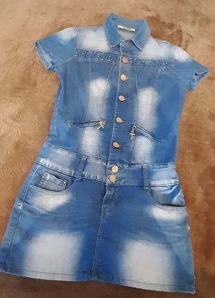 Платье мини джинсовое