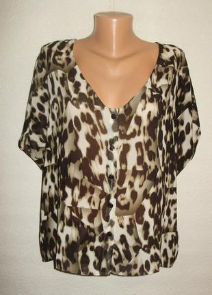 Фирменная шифоновая блуза леопардовый принт с эффектом 3d размера m
