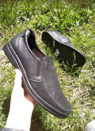 Летние мужские туфли, легкие из натуральной кожи 42,43