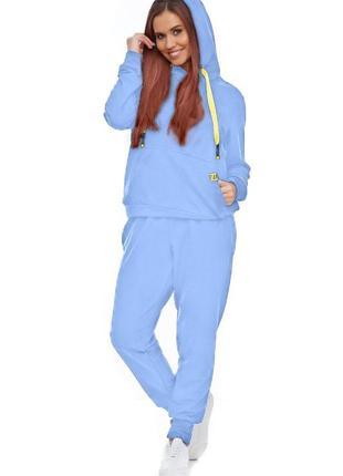 Женский спортивный костюм с капюшоном синий васильковый, s-xl