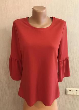 Фирменная коралловая блуза кофта необычный рукав рюши reaerved