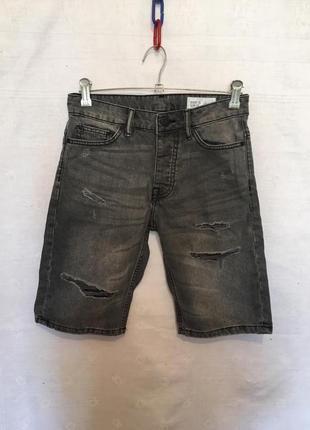 Стильні джинсові шорти бріджі з рваностями/denim co/28