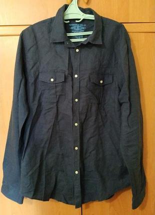 Льняная рубашка с длинным рукавом бренда springfield