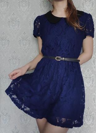 Красивое кружевное  гипюровое синее платье на подкладке с воротничком