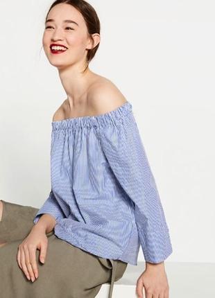 Актуальная хлопковая блуза в полоску zara /тренд/на плечи