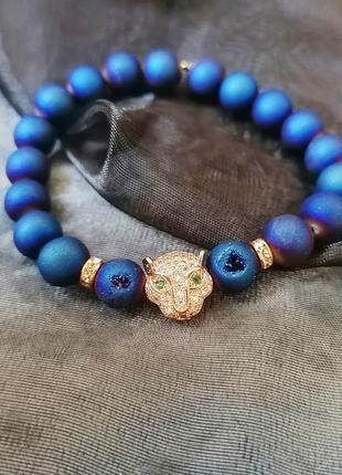 Крутой браслет из натуральных камней, агата, синий браслет