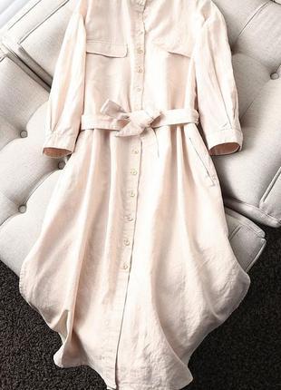 Льняное платье-рубашка zara