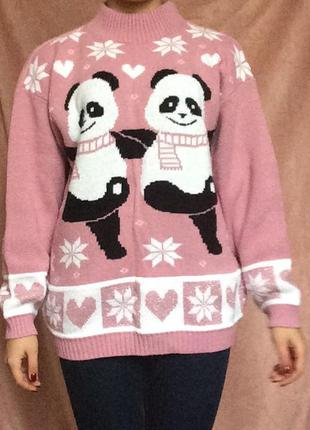 Тёплый розовый свитер