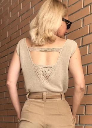 Летний вязаный топ, майка , футболка с открытой ажурной спиной. лен 100%.