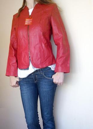 Куртка из натуральной кожи красная р. 38 fashion concept германия