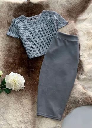 Костюм комплект топ топик и юбка цвета в ассортименте