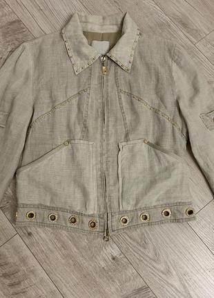 Летняя льняная куртка / пиджак / кофта 100% лён gizia размер м gizia