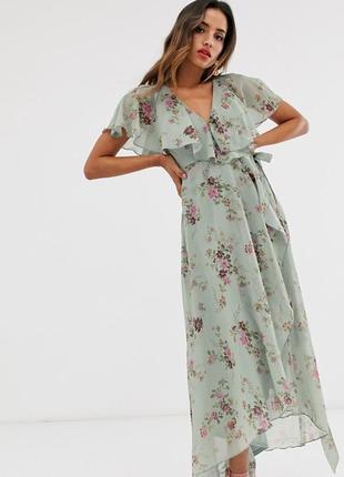Нереальное роскошное платье asos design с кейпом и цветочным принтом!