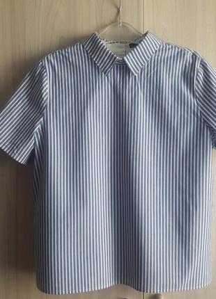 Блузка рубашка полоска плиссе