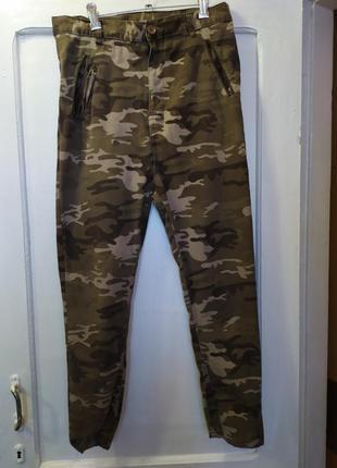 Котоновые брюки с высокой посадкой.размер m